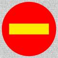Gelber Balken auf roten Grund