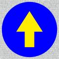 Gelber Richtungspfeil auf blauen Grund